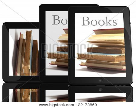 Group Of Tablet Pc Computer And Books