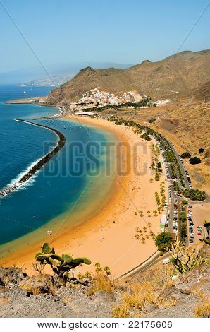 A view of picturesque Teresitas Beach in Tenerife, Canary Islands, Spain