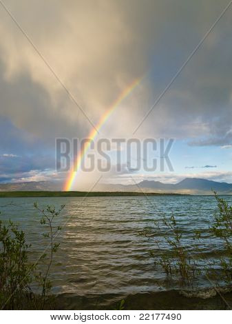 Rainbow over Lake Laberge, Yukon T, Canada