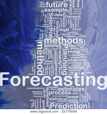 Background concept wordcloud illustration of forecasting international