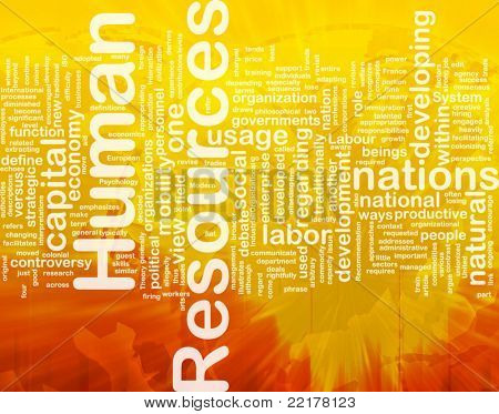 Background concept wordcloud illustration of human resources international