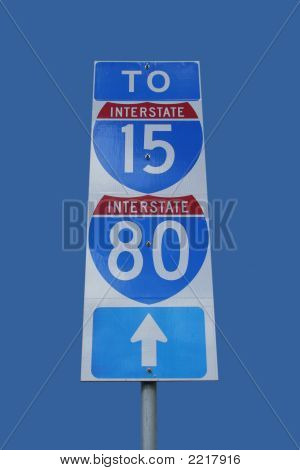 Interstate 80 Sign Isolated On Blue