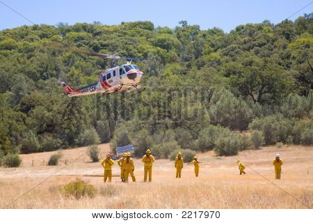 Fire Crew With Helicopter