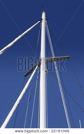 Mast Of Yacht Against The Blue