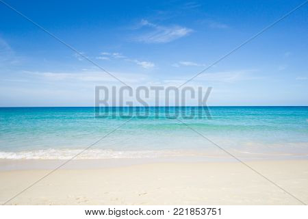 poster of Sea view from tropical beach with sunny sky. Summer paradise beach of Phuket island. Tropical shore. Tropical sea in Puhket.Exotic summer beach with clouds on horizon.Ocean beach relax, outdoor travel