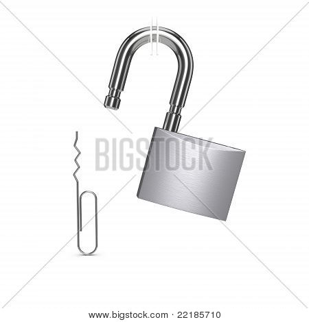 Padlock Unlocked With Paper Clip