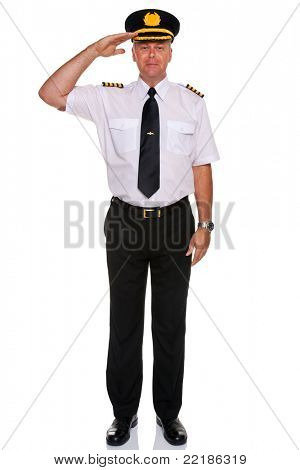 Photo of an airline pilot wearing the four bar Captains epaulettes saluting, isolated on a white background.