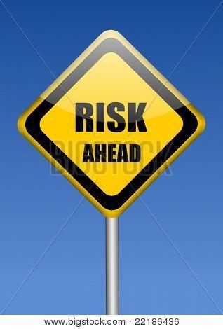 risk ahead yellow traffic sign