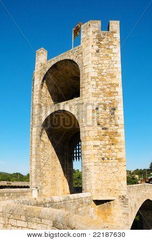 Detail of the medieval bridge in Besalu, Spain