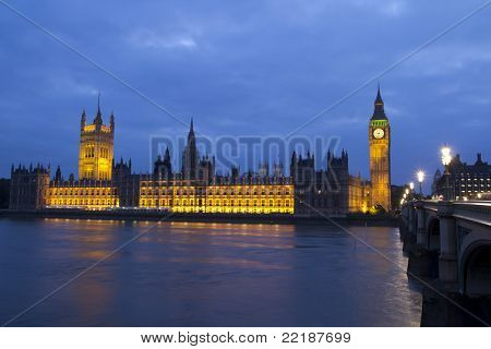 LONDON - MAY 29: Big Ben and Houses of Parliament at night on the River Thames in London on May 29, 2011. The bell in Big Ben is 2.28 meters tall (7 feet six inches) and 2.75 meters wide (9 feet).