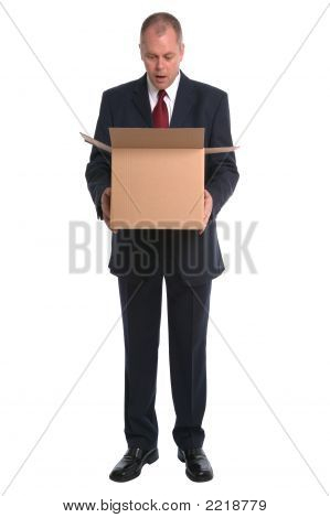 Businessman Opening Box