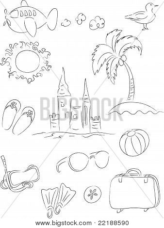 Vacation Line Drawing Set