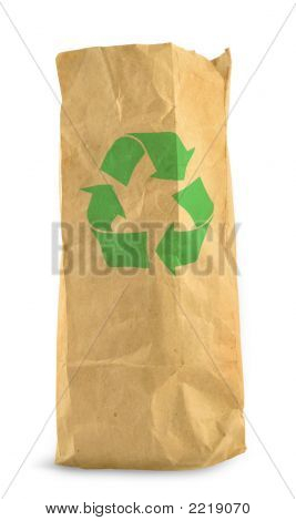 Brown Paper Bag And Recycle Symbol