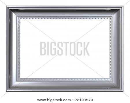 Platinum frame isolated on white background. Computer generated 3D photo rendering.