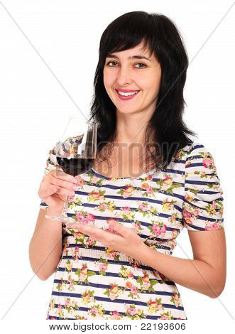 Portrait Of Woman With Glass Of Red Wine