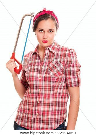 Housewife In Kerchief With Handsaw In Hand