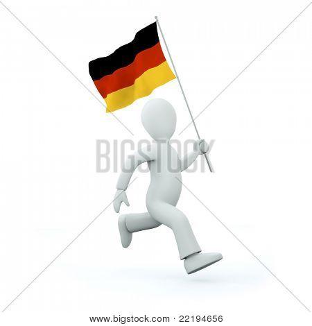 Holding a deutschland flag