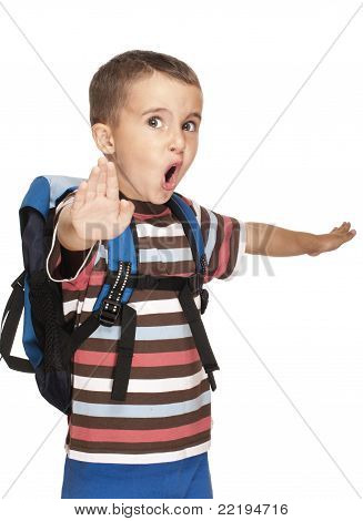 Little Boy With Backpack Pretends Kung-fu
