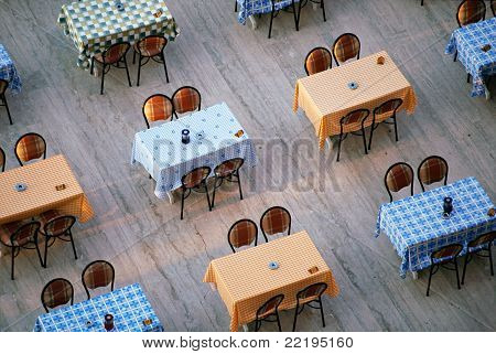 Alignement Of Restaurant Tables And Chairs
