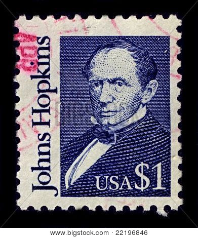 USA-CIRCA 1989:A stamp printed in USA shows image of Johns Hopkins was a wealthy American entrepreneur, philanthropist and abolitionist of 19th-century Baltimore, Maryland, circa 1989.