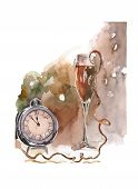 Abstract New Year Painting, Midnight On The Clock And Glass Of Champagne poster