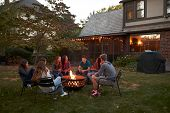 Teenagers sit talking around a fire pit in a garden at dusk poster