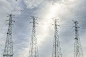 power lines and pylons against cloud sky near Kentucky Dam and power plant poster