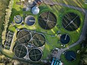 Sewage wastewater treatment plant aerial view poster