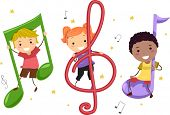 stock photo of g clef  - Illustration of Kids Playing with Musical Notes - JPG
