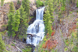 foto of undine  - Undine Falls in Yellowstone National Park with early fall colors - JPG