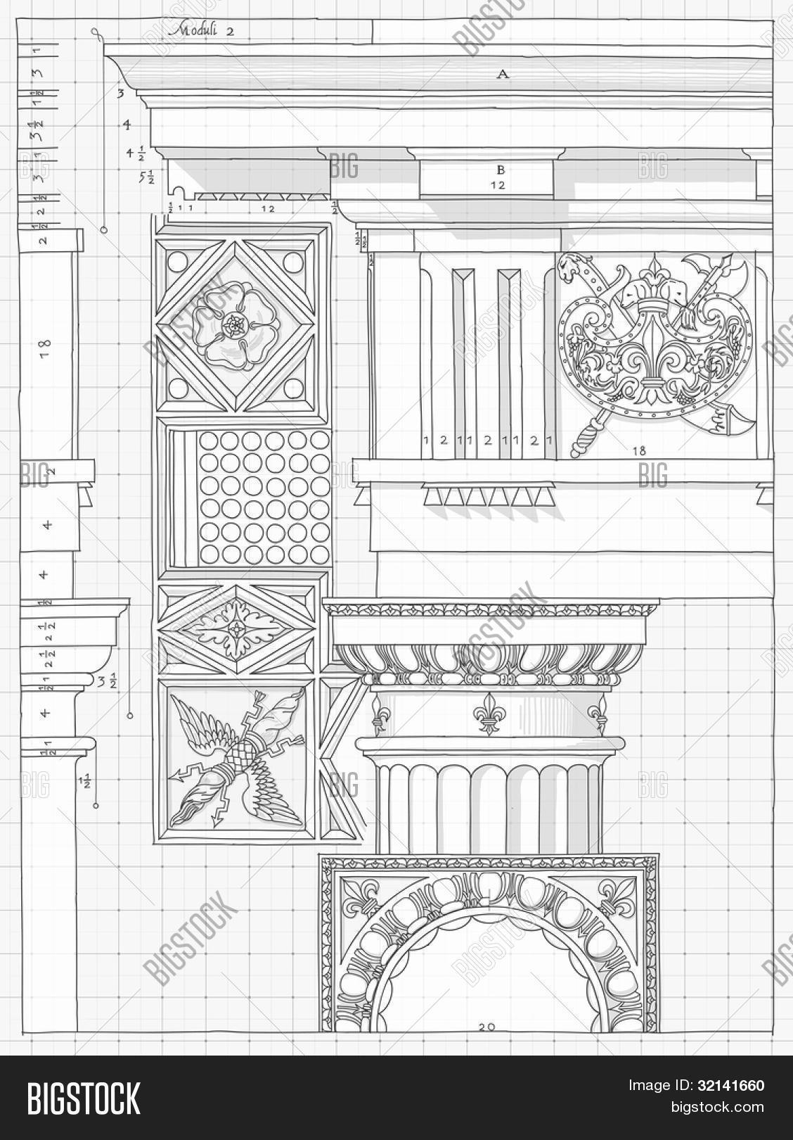 Blueprint hand draw sketch doric architectural order for 5 orders of architecture
