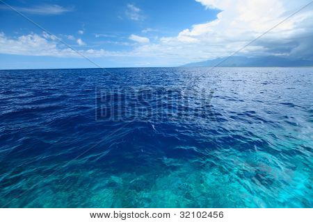 Blue clear sea with waves and sky with clouds