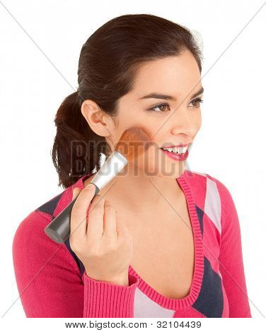 Young Woman Powdering her Cheek