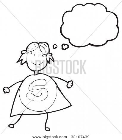 cartoon doodle superhero girl