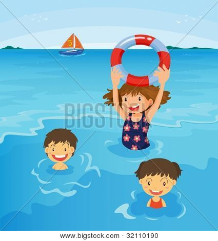 Kids swimming at the beach illustration