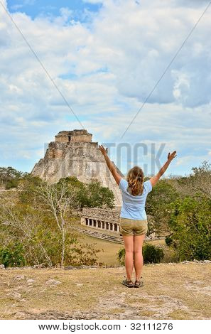 Girl in Mayan ruins - Uxmal, Mexico