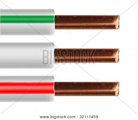 Cable eléctrico aislado de la Ilustración sobre fondo blanco. Vector.