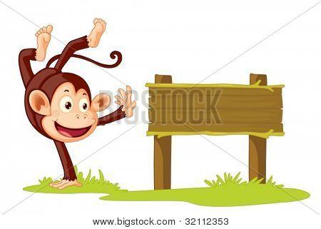 Illustration of a monkey on a sign