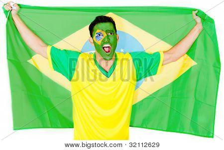 Brazilian man celebrating with the flag - isolated over a white background