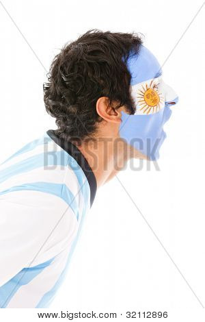 Argentinean man shouting - isolated over a white background
