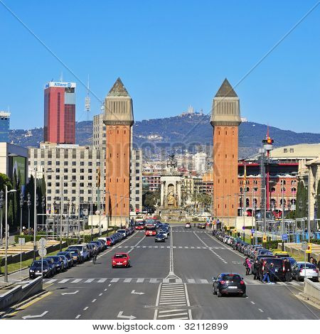 BARCELONA, SPAIN - FEBRUARY 12: Plaza de Espanya on February 12, 2011 in Barcelona, Spain. There are many landmarks in Plaza de Espanya, such as the twin campanile-style towers built in 1929