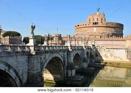 Sant Angelo bridge in Rome, Italy