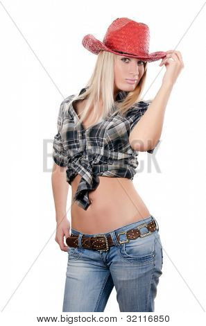 The beautiful girl in a cowboy's hat