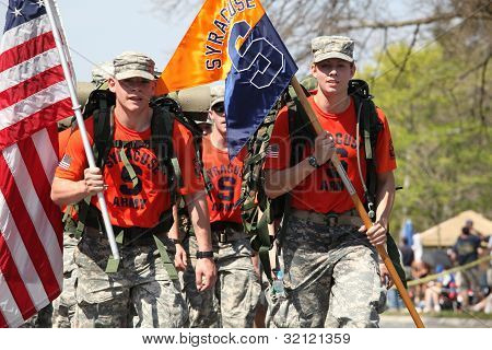 Syracuse ROTC marching the boston marathon