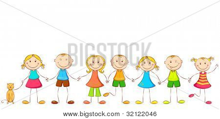 illustration of happy children holding hand of each other