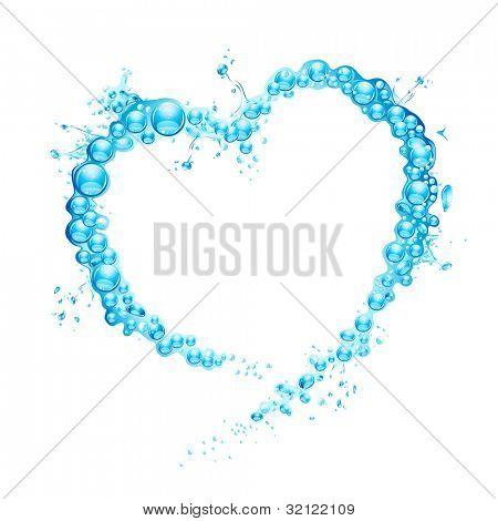 illustration of water splash forming heart shape