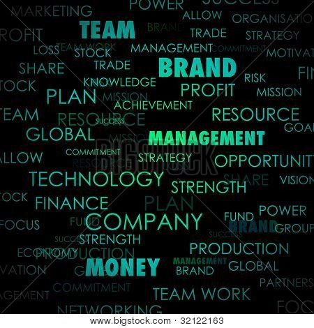 illustration of background with business word cloud