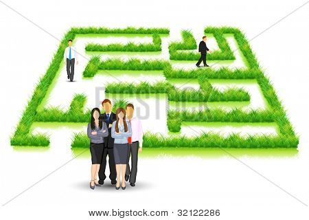 illustration of business people walking in grass maze puzzle