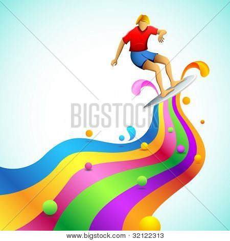illustration of surfer on wave of rainbow