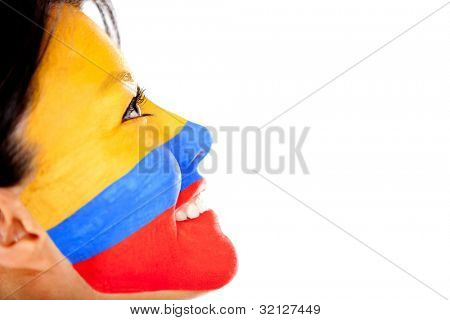 Woman with the flag Colombia painted on her face - isolated over a white background